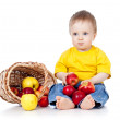 Little boy with apples. — Stock Photo #63981829