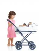 Child with carriage  with   kittens — Stock Photo