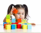 Girl building a tower — Stock Photo