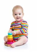 Baby playing with pyramid toy — Stock Photo