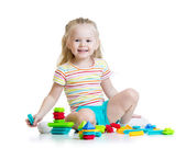 Kid girl playing color toys — Foto de Stock