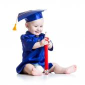 Baby in academician clothes — Stock Photo