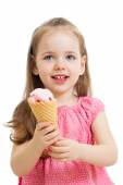 Happy kid eating ice cream in studio isolated — Stock Photo