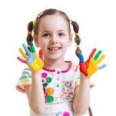Child girl with painted hands — Stock Photo
