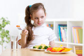 Kid refusing to eat his dinner — Stock Photo