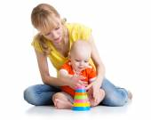 Baby boy and mother play together — Stock Photo