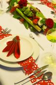 Red Christmas table — Stock Photo