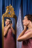 Vintage woman in mirror — Stock Photo