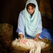Christmas nativity scene with doll — Stock Photo #54603869
