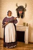 Funny wife with dead husband — Foto de Stock