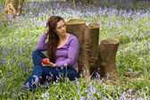 Dreaming in a bluebells forest — Stockfoto