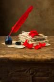 Tinte gut und roten Feder Feder — Stockfoto