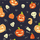 Pattern with pumpkins and ghosts — 图库矢量图片