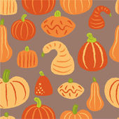 Pattern with various pumpkins — Stock Vector