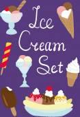 Set of ice cream deserts — Stock Vector