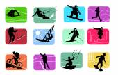 Colorful icons of active sport figures — Stock Vector