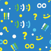 Pattern with punctuation marks and smileys — Stock Vector