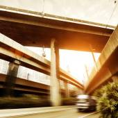 Viaducts and small trucks — Stock Photo