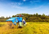 Working blue harvester — Stock Photo