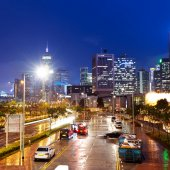 Hong Kong's financial district Night — Stock Photo