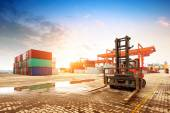 The container terminal at dusk — Stock Photo