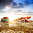 The container terminal at dusk — Stock Photo #74649285