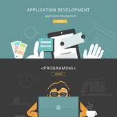 Set of Flat Design Concepts for Web Application Development — Vetorial Stock