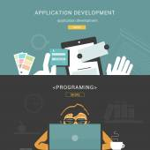 Set of Flat Design Concepts for Web Application Development — Stock Vector