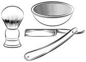 Vintage barber shaving set  — Stock Vector