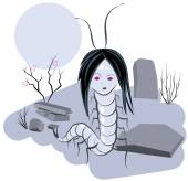 Scolopendra witch in cemetery — Stock Vector