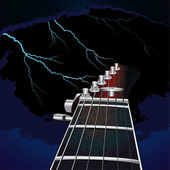 Guitar on a background of the sky with lightning — Stock Vector