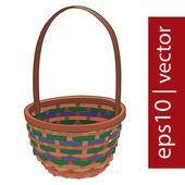 Brown vector Easter wicker basket handmade — Stock Vector