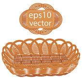 Brown vector wicker basket handmade — Stock Vector