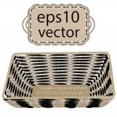 Gray vector wicker basket handmade — Stock Vector