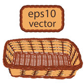 Brown vector wicker basket handmade — Stock Vector