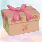 Beige beautiful gift box with a pink bow — Stock Vector