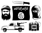 Set of isil extremists flag, timebomb, gun, knife — Stock Vector