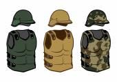 Vojenské oblečení ochrany vesty zamaskovat uhlíku brnění a helmu pro válku — Stock vektor