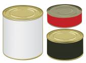 Set of aluminium colored label cans for signing your text — Stock Vector