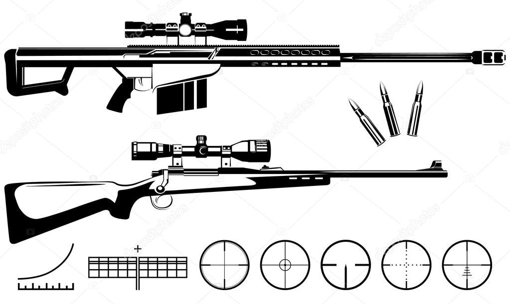 Conjunto De Armas De Fuego Rifles De Francotirador Y