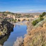 Tagus river and Bridge of San Martin, Toledo (Spain) — Stock Photo #59296395