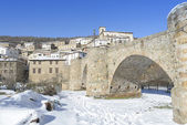 Town of Villoslada de Cameros in a snowy day, La Rioja, Spain — Stock Photo