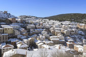 Town of Ortigosa de Cameros in a snowy day, La Rioja, Spain — Stock Photo