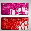 Set of two Valentines day cards pink and red — Stock Vector #62165349