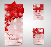 Set of red Valentines day tags and cads — Stock vektor