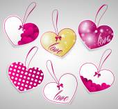 Pink and gold heart tags — Stock Vector