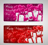 Set of two Valentines day cards pink and red — 图库矢量图片