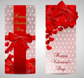 Valentines day cards red width silk — Stock Vector