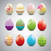 Uova di Pasqua con motivi geometrici — Vettoriale Stock