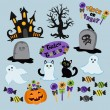 Set of cute vector Halloween elements, objects and icons for your design — Stock Vector #65813527